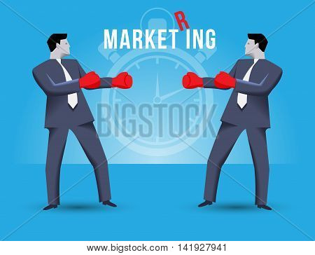 Market ring business concept. Two businessmen standing against each other wearing boxer gloves and ready to fight. Time is ticking and fight will begin shortly on MARKET RING.