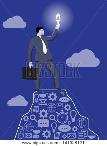 Leading in the darkness business concept. Successful businessman with case and burning torch on the top of the mountain looking around and searching for new opportunities and targets.