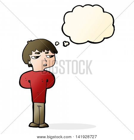 cartoon antisocial boy with thought bubble