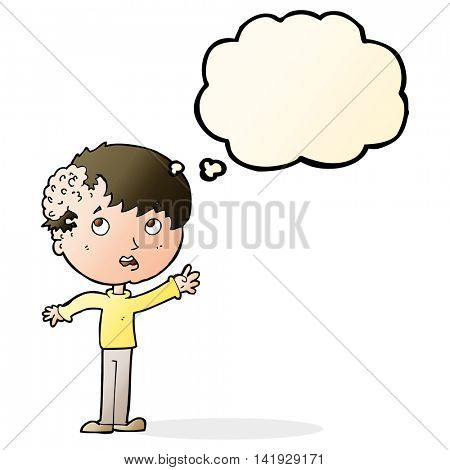 cartoon boy with growth on head with thought bubble