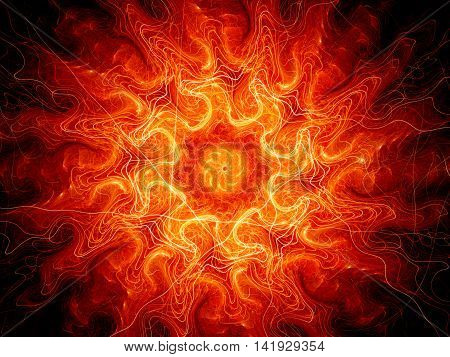 Fiery glowing lava fractal computer generated abstract background