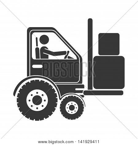 forklift boxes machinary , isolated flat icon design