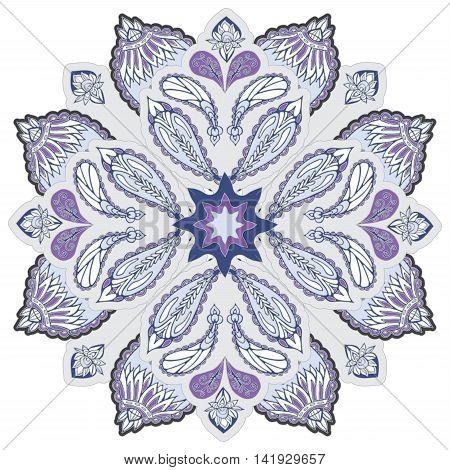stock vector purple mandla pattern for printing on paper fabric. Indian arabic orent ornament