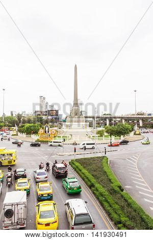 Bangkok, Thailand - June 5, 2016 : View on the Victory Monument on cloudy day at center of Bangkok. The monument has been established in June 1941 to mark a victory in war with French.