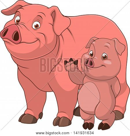 Vector illustration funny exotic animal pig family