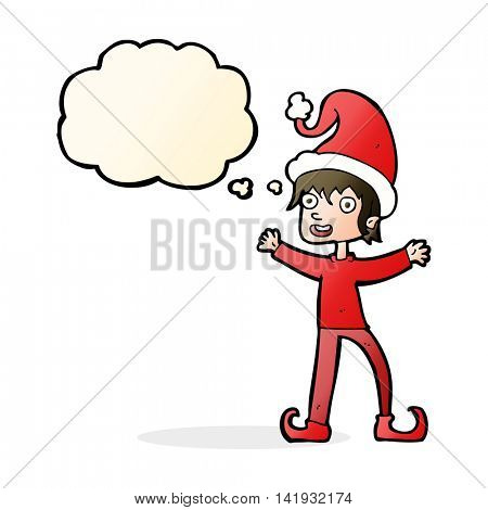 cartoon excited christmas elf with thought bubble