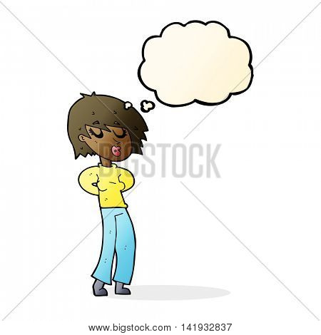 cartoon woman whistling with thought bubble