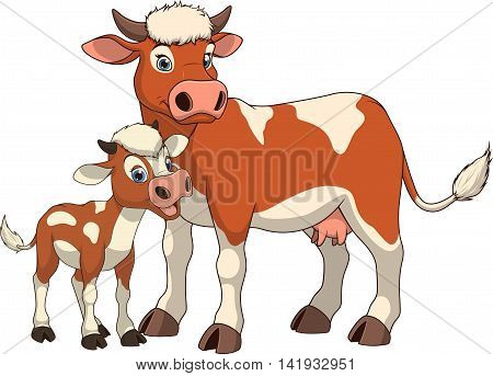 Vector illustration funny exotic animal cow family