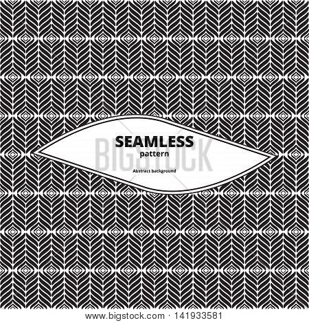 Seamless diagonal pattern. Monochrome linear art. Abstract chevron wallpaper. Black and white diagonal background. Geometric contrast backdrop. Vector illustration.