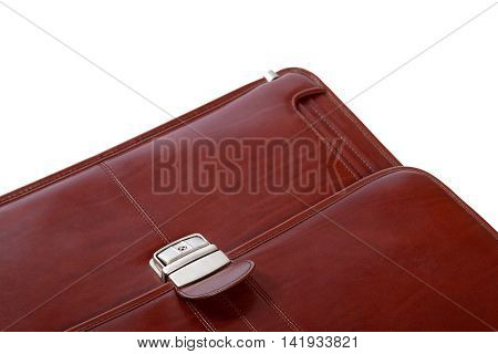 Part of brown leather briefcase. Isolated on white background.