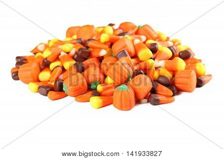 Halloween candy corns isolated on a white