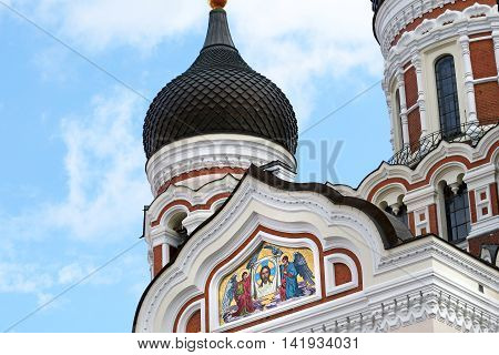 Alexander Nevsky Cathedral.  Old city, Tallinn, Estonia.  A USSR Soviet era church with Obion Domes.Building Completed 1900.