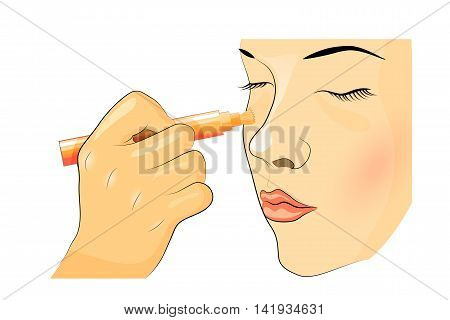 illustration of blending makeup. The girl's face Foundation concealer