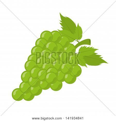 Delicious and fresh grapes fruit, isolated flat icon design vector illustration.