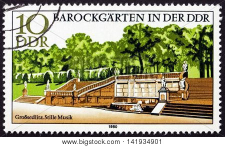 GERMANY - CIRCA 1980: a stamp printed in Germany shows Quiet Music Grossedlitz Baroque Garden circa 1980
