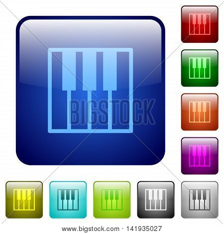 Set of piano keyboard color glass rounded square buttons