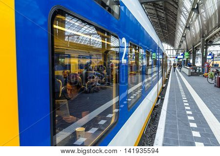 Amsterdam the Netherlands - August 08 2016: looking through train window at the station