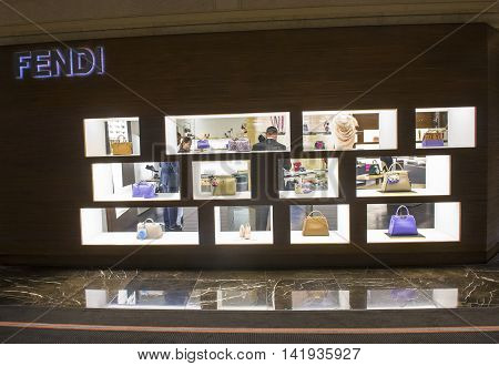 LAS VEGAS - MAY 21 : Exterior of a Fendi store in Las Vegas strip on May 21 2016. Fendi is a multinational luxury goods brand owned by LVMH Moet Hennessy Louis Vuitton.