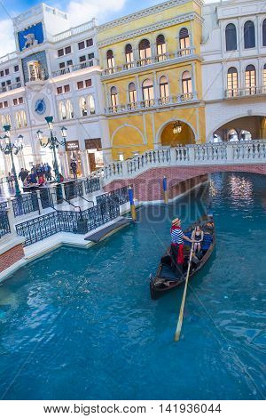 LAS VEGAS - MAY 21 : The interior of the Venetian hotel & Casino in Las Vegas on May 21 2016. With more than 4000 suites it's one of the most famous hotels in the world.