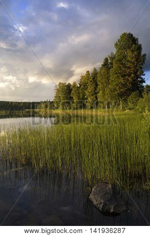 Beautiful evening at lake Delsbo near the Swedish town Jarvso
