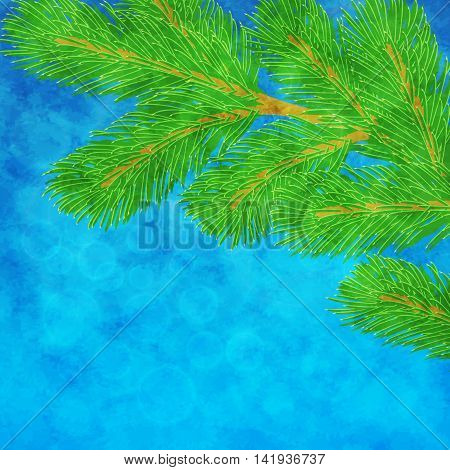Vector winter illustration with green pine branch on textured blue background
