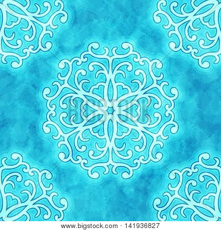 Vector christmas seamless pattern with curly snowflakes on blue watercolor texture background