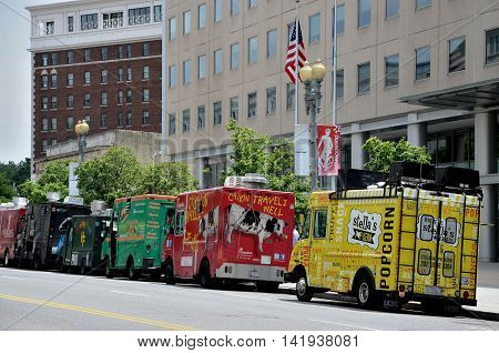 WASHINGTON DC - MAY 19 2016: A food truck is a large vehicle equipped including ice cream trucks, sell frozen or pre packaged food; others have on-board kitchens and prepare food from scratch.