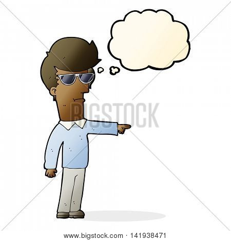 cartoon man in glasses pointing with thought bubble