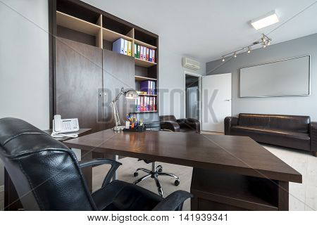 Simple and stylish office modern room .