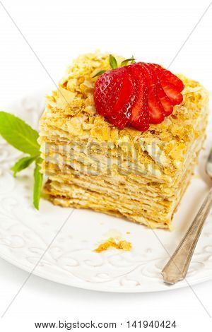 Puff Pastry flaky pastry layers Cake. Selective focus.