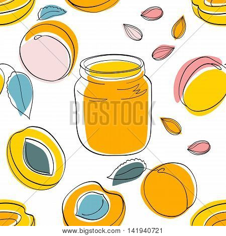 Vector seamless pattern Apricot jam and fruits