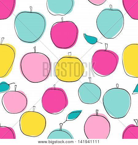 Apple vector seamless pattern in modern color scheme