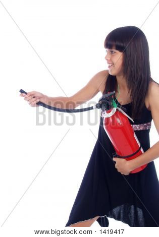 Young Girl With Fire Extinguisher