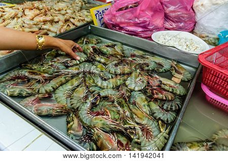 Krabi town, Thailand - December 31 2012: Shrimp stall in Krabi town morning market, southern Thailand