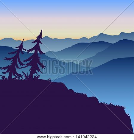 vector illustration misty mountain landscape at sunset