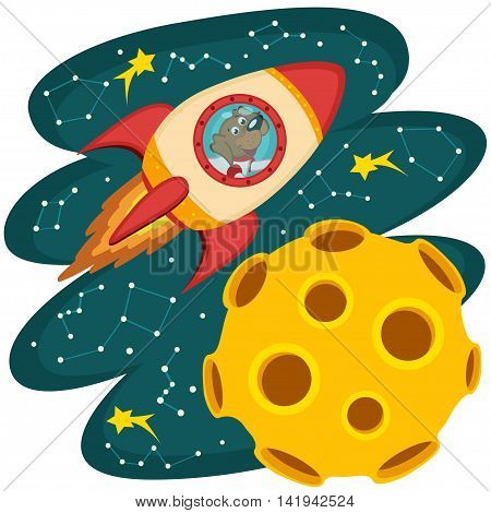 dog cosmonaut flying on a rocket to the moon - vector illustration, eps