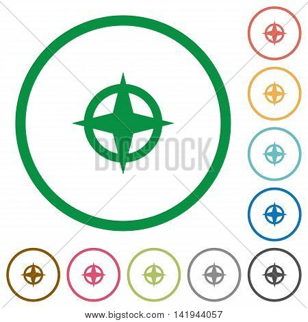 Set of map directions color round outlined flat icons on white background