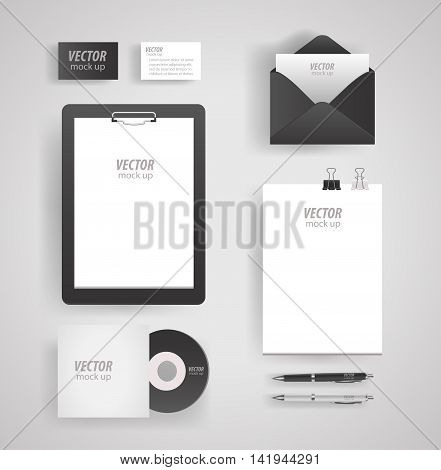 Premium corporate identity template set. Business stationery mock-up with logo template. Set of envelope, card, folder, etc. Vector illustration.