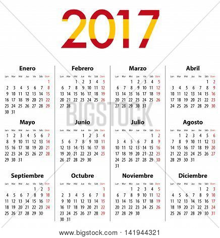 Spanish Calendar for 2017. Flag colors. Mondays first. Calendar grid for print web design presentation business or office uses. Vector illustration
