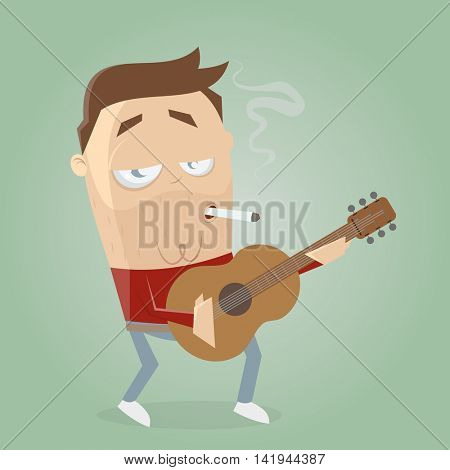 relaxed guitarist smoking a cigarette