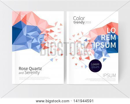 Rose quartz & serenity. colored pink and violet scattered triangles. Vector Cover design template business brochures, booklets, leaflets, flyers, books, magazine. poster template or advertisement.