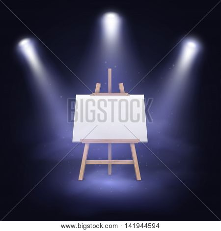 Illuminated stage with scenic lights and blank canvas on a wooden easel. Vector illustration EPS10