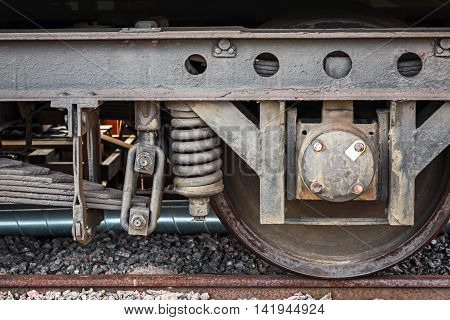Old Rusted Railway Carriage Wheel With Suspension