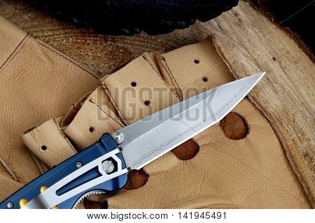 Penknife with a blade from Damask steel with original drawing