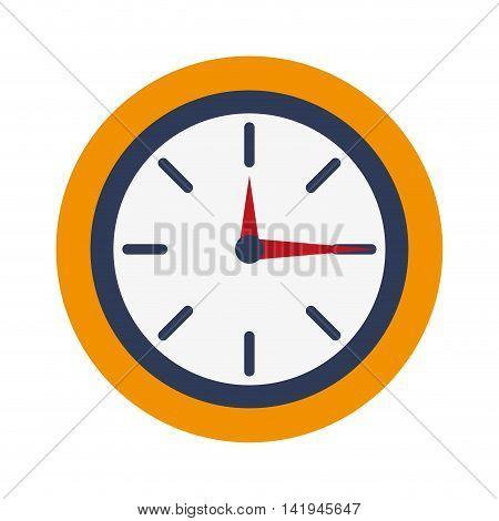 flat design analog wall clock icon vector illustration