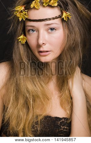 close up portrait of beauty young woman with flowers, sensual real people happy