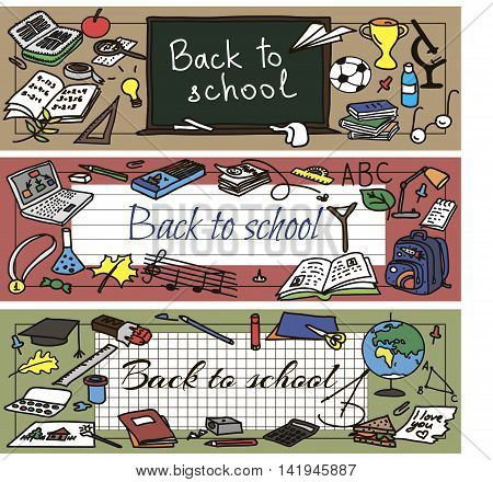 Back to school had drawn doodle set of banners. Vector illutration.