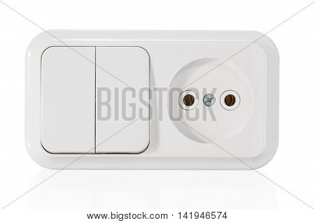 Unit from the electrical outlet and dual-switch close-up isolated on white background