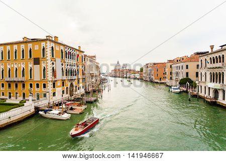 Grand Canal and Basilica Santa Maria della Salute early in the morning. Venice, Italy.