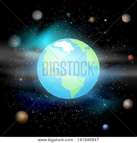 Blue planet against Universe. Solar system. Earth in space background. Vector illustration